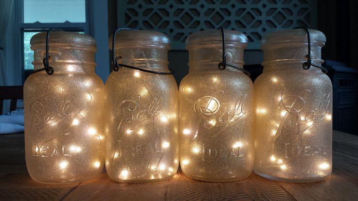 Indoor Outdoor Vintage Gold Glitter Sparkle Mason Jar Battery Operated Fairy String Lights; Vintage Mason Jar Light for Parties or Wedding