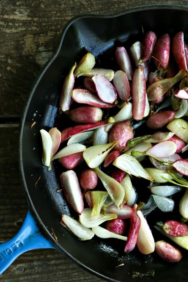 Halfway through the roasting for Crispy Roasted Radishes with Onions