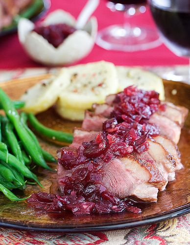 Ming Tsai's Seared Duck Breast with Sweet and Sour Cranberry Chutney Recipe
