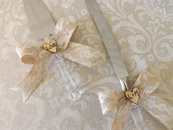 Burlap Lace Vintage Wedding Cake Knives Wood by creations4brides, $26.00