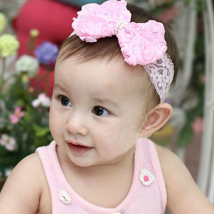 Amazing Fashion 1PC Baby Girls Kids Pearl Headband Bow Lace Headband Flower Headwear Children Hair Accessories