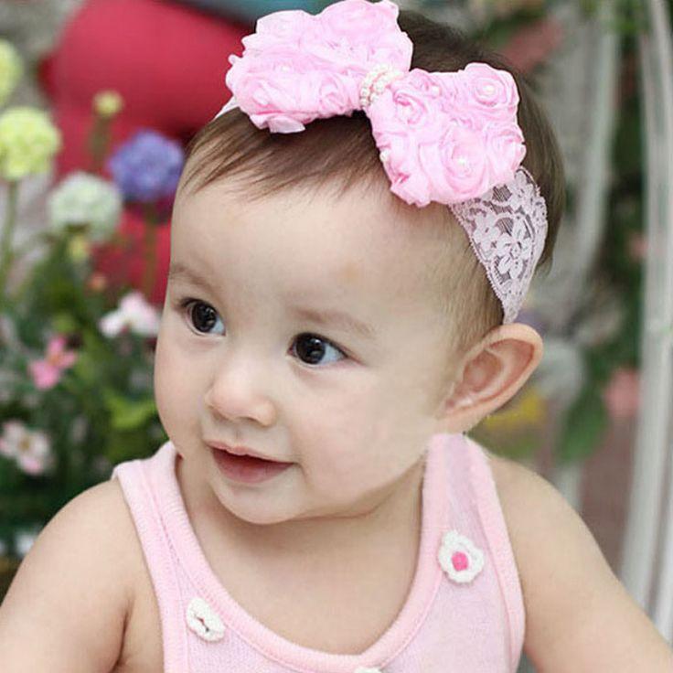 Amazing Fashion 1PC Baby Girls Kids Pearl Headband Bow Lace Headband Flower Headwear Children Hair Accessories