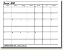 downloadable january 2013 (and other months & years) simple calendar page
