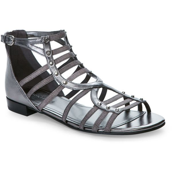 Marc Fisher Pewter Partner Caged Flat Sandals ($50) ❤ liked on Polyvore featuring shoes, sandals, grey, grey sandals, elastic strap sandals, low heel strappy sandals, metallic flat sandals and studded sandals