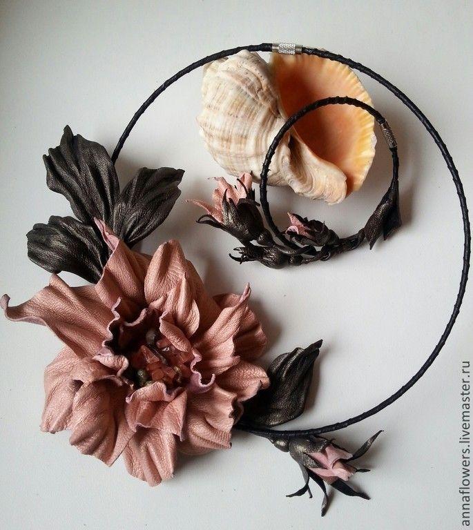 """Колье и браслет из кожи """" В предчувствии осени"""". Handmade."""
