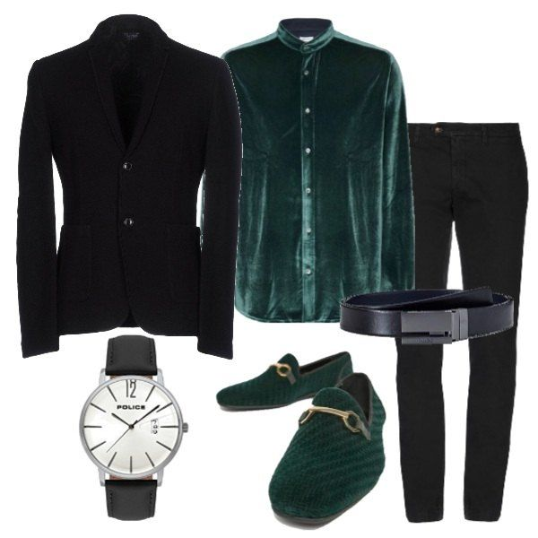 taglia 40 a84fe 2ca97 Splendida camicia in velluto verde 8 by Yoox, collo alla ...