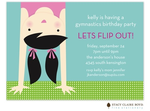gymnastics party invitation.