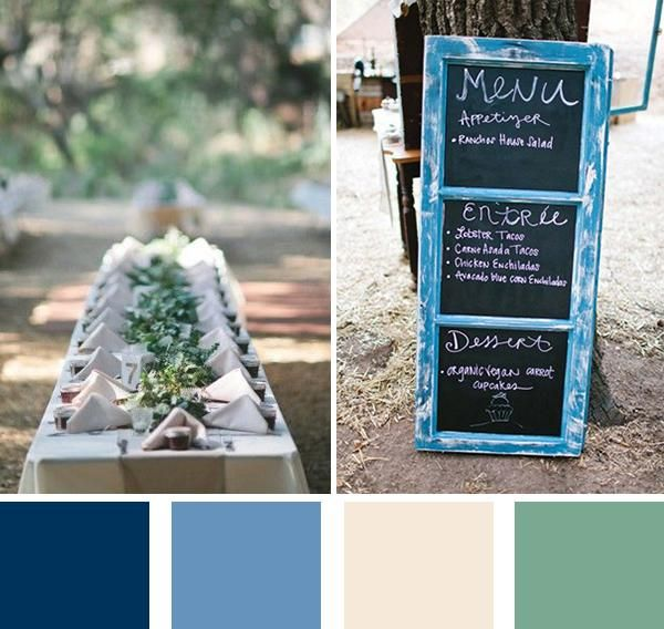 Classic blue wedding colors: Navy, cream and green – this color palette is lovely for a variety of wedding themes. We love the elegant, outdoorsy and ...