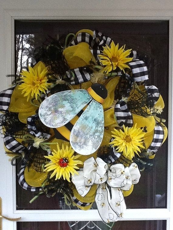 Bee deco mesh Wreath by LifeIzBeautiful