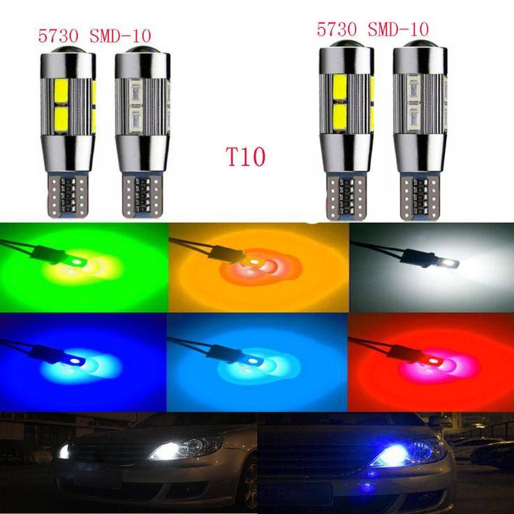 5PCS 2017 New update 7 colors T10 LED Auto Car Light Bulb 5730 SMD 10 LED W DC 12V Interior Parking Projector Lens for car lamp #Affiliate