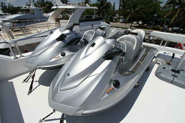 A superyacht vacation isn't complete without a few toys, and GiGi II is no exception - The toy cupboard consists of two, three-seater Yamaha wave runners, kneeboard, wakeboard, two kayaks, and an inner-tube.