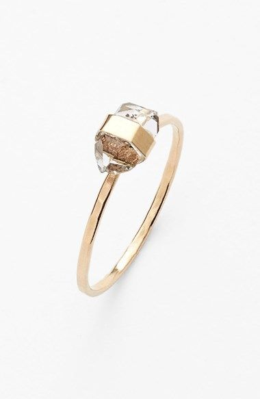 "Melissa Joy Manning Small Stone Ring, ""A gleaming, responsibly recycled band of gold hugs the prismatic, semiprecious-stone setting of a unique yet elegantly understated ring."" 