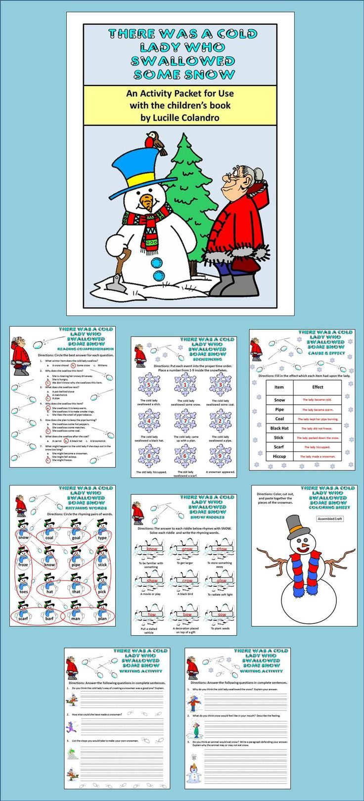28 Best Winter Products Images On Pinterest Math Activities Hat Wh 94 There Was A Cold Lady Who Swallowed Some Snow Activity Packet This Colorful