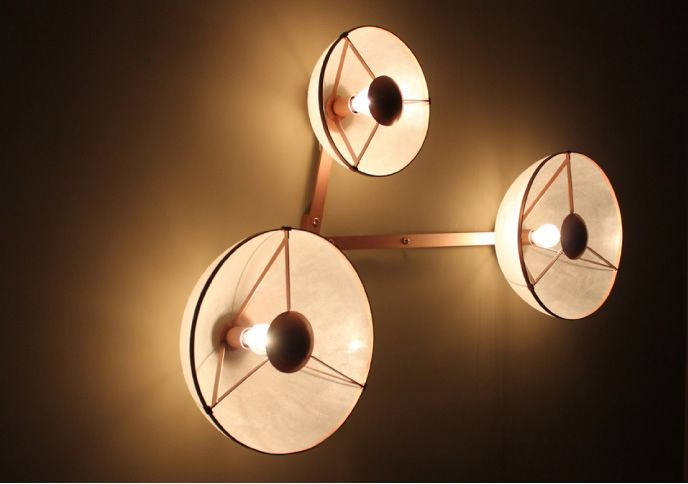 Wall fixture in resin, transparent gel coat, glass fiber and weave carbon. Metallic structure and satiny polyurethane. Height: 40 inches Width: 59 inches Depth: 7 inches Source: bulb 40 w with dimmer.
