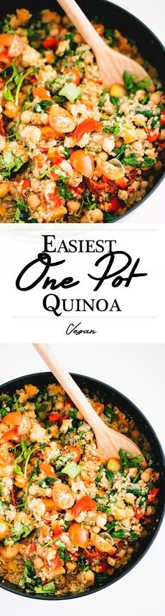 Easiest One Pot Vegan Quinoa - Healthy, Hearty, Gluten Free, Low In Fat and packed full of Flavor. #easy #simple #vegan #onepot #quickrecipes #Recipes #veganrecipes #quinoa #delicious