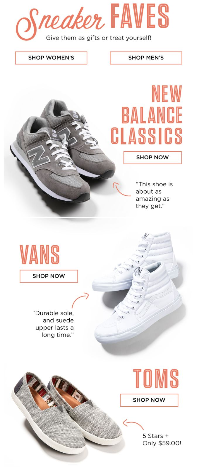 """11.3 zappos """"sneakers as gifts"""" subject line. intro message """"Why not! We're fully stocked on the season's best sneakers! XOXO, Zappos.com"""""""