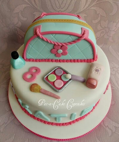 8th birthday cake with girly makeup purse and accessories . https://www.facebook.com/PataCakeCupcakes.Preston