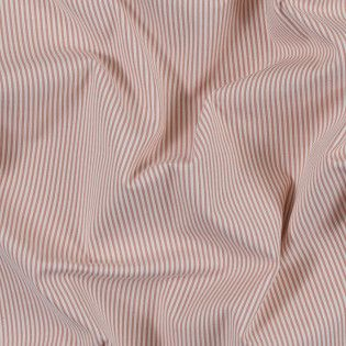 Salmon and White Candy Striped Stretch Cotton Woven