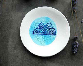 Porcelain White Ring Dish Recycled Glass OOAK Flower Ceramic