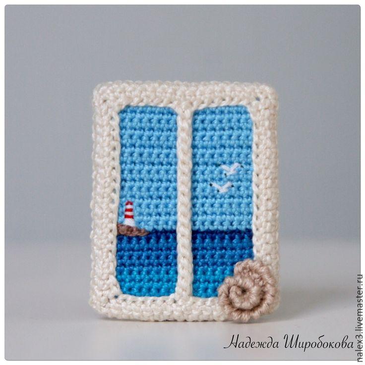 """Купить Брошь """"Домик у моря"""" Резерв - синий, синяя брошь, брошь окно, окно, море"""