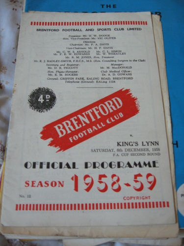 Away to Brentford FC  FA Cup 2nd round   6/12/1958  http://www.roehampton-online.com/About%20Us/Roehampton%20London.aspx?4231900