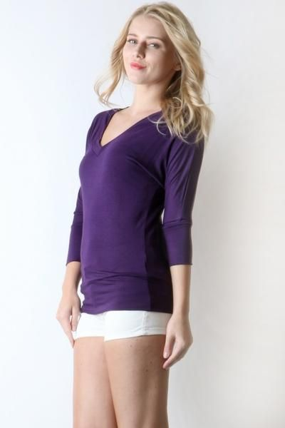 4558c23bf73de Spring Fashion Tunic Top Womens Purple V-Neck Shirt MomMeAndMore.com –  MomMe and More