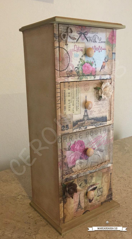 Cajonera Decoupage Cajas Decoradas Cajas Pintadas Y