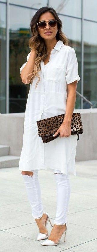 White Shirt Dress + White Ripped Denim | Mia Mia Mine                                                                             Source
