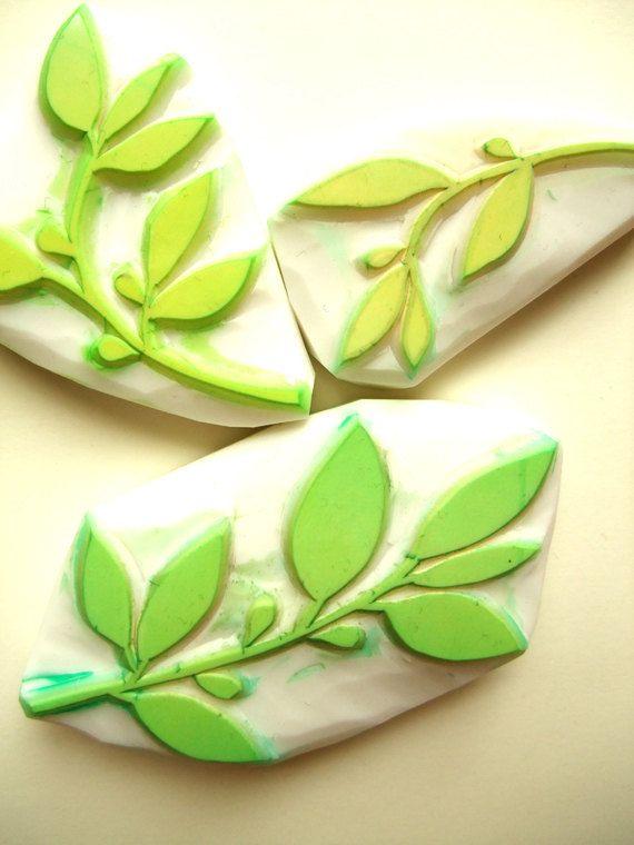 spring leaf rubber stamp -hand carved rubber stamp - handmade rubber stamp - set of 3. $24.00, via Etsy.