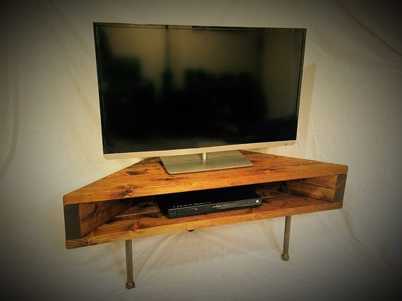 Custom-made Corner TV/Component Stand. Created with cedar and galvanized steel, this is the perfect corner piece that will save space in your