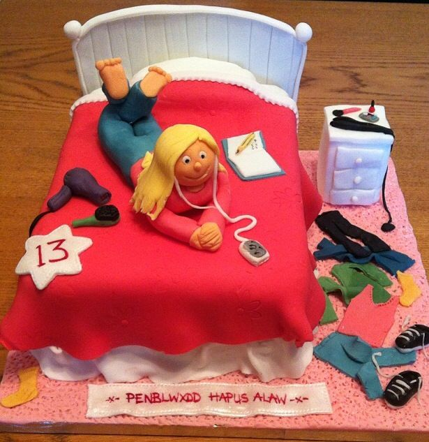 Teenage bedroom bed cake