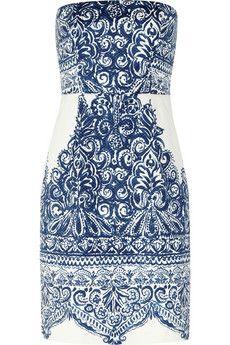 J.Crew Ella strapless printed cotton-blend piqué dress | NET-A-PORTER