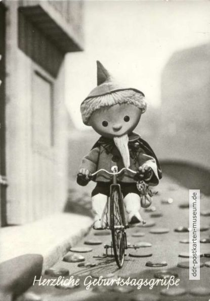 1977, Sandmann mit Fahrrad