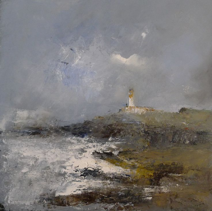 Turnberry storms 9 x 9  inch oil on board