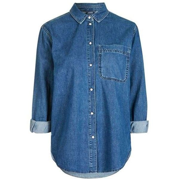 Topshop Moto Denim Oversized Shirt (£34) ❤ liked on Polyvore featuring tops, shirts, topshop, blue denim shirt, layered tops, blue top, button front top and double layer top