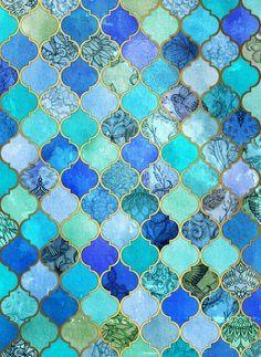 Cobalt Blue, Aqua  Gold Decorative Moroccan Tile Pattern Art Print