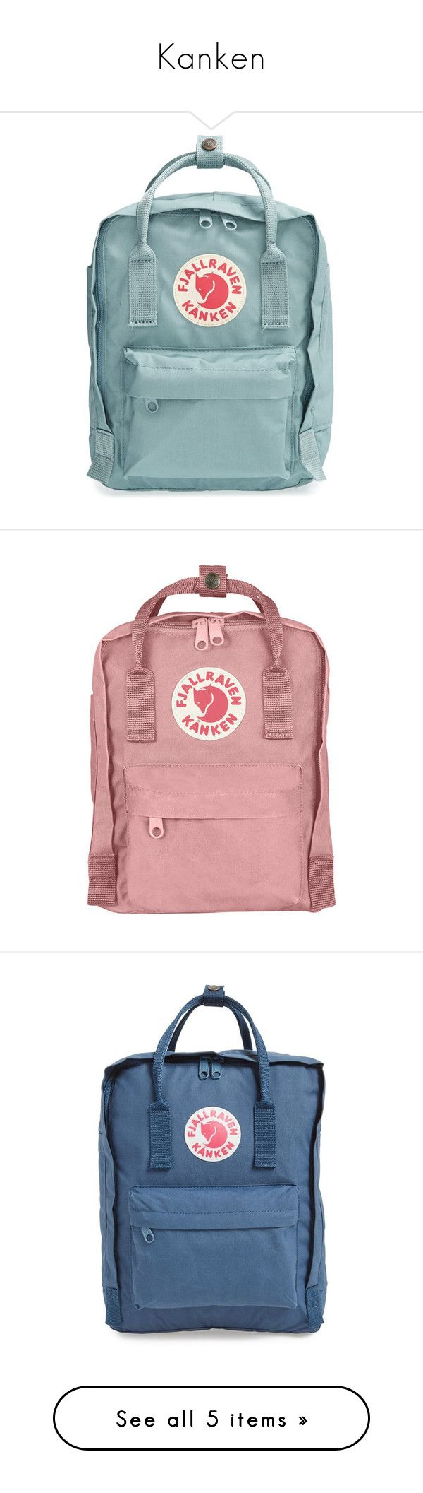 """""""Kanken"""" by holunderbluete ❤ liked on Polyvore featuring bags, backpacks, accessories, fillers, sky blue, fjallraven backpack, blue bag, mini backpack, mini rucksack and handle bag"""
