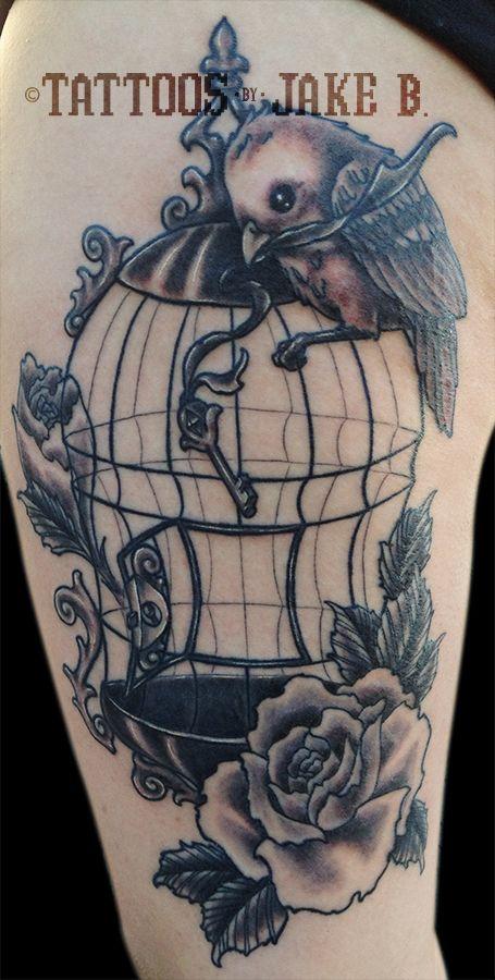 """Freebird"" Bird Cage tattoo by Jake B"