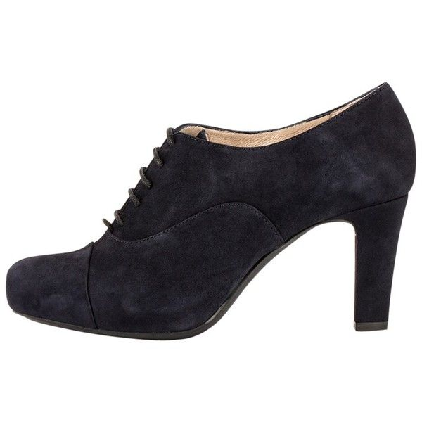 Unisa Nun Cone Heeled Brogues, Navy ($150) ❤ liked on Polyvore featuring shoes, oxfords, heels, navy blue loafers, lace up flat shoes, leather flat shoes, leather oxfords and flat shoes