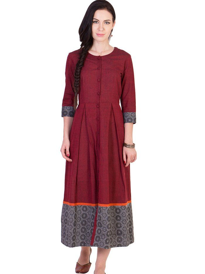 Maroon Mangalgiri Cotton Pleated Midi