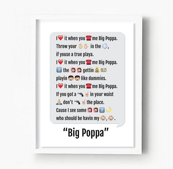 Notorious BIG Print, Emoji Art, Big Poppa Rap Lyrics, Hip Hop Poster, Biggie Smalls, Dorm Decor, Best Friend, Dorm Room, Rapper, Rap Gift