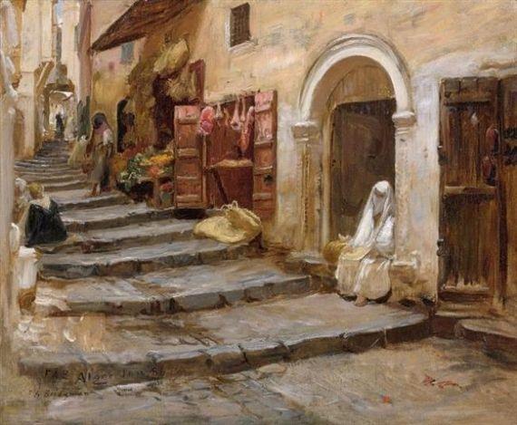Frederick arthur bridgman casbah d 39 alger algerian for Peinture satinee algerie prix