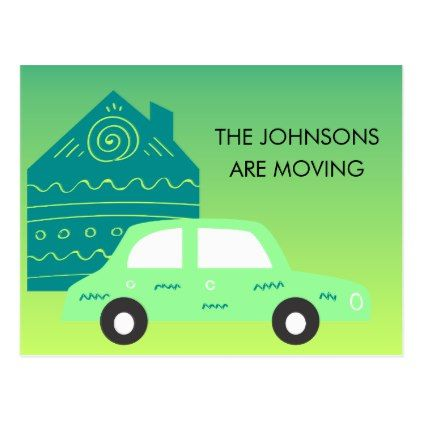 Cute Teal House and Green Car Address Change Postcard - postcard post card postcards unique diy cyo customize personalize