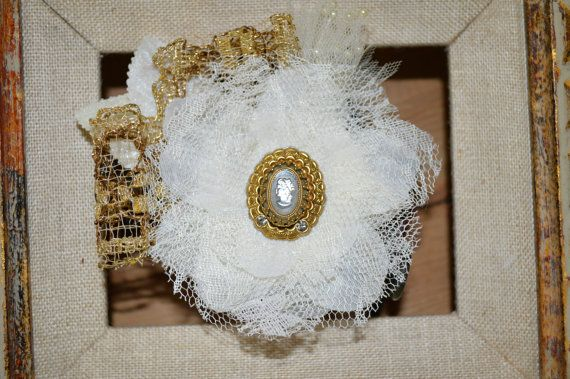 Bridal Ivory Gold Hair Clip Wedding Hair by This Way Vintage
