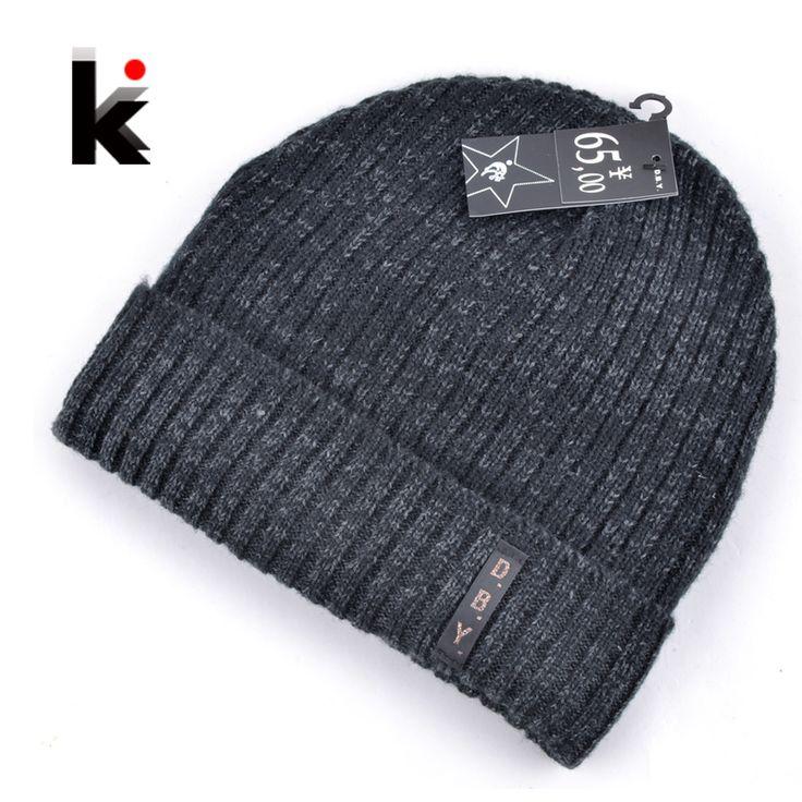 2016 mens designer hats bonnet winter beanie knitted wool hat plus velvet cap skullies Thicker mask Fringe beanies for men  [Affiliate]