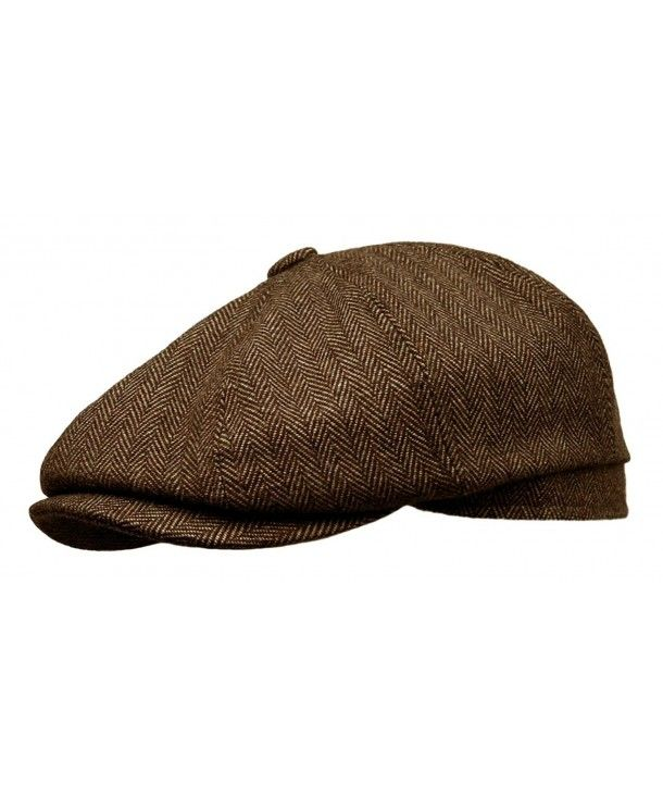 Stetson Cabbie Newsboy Driving Paperboy Cap Hat Herringbone Brown Size Large XL