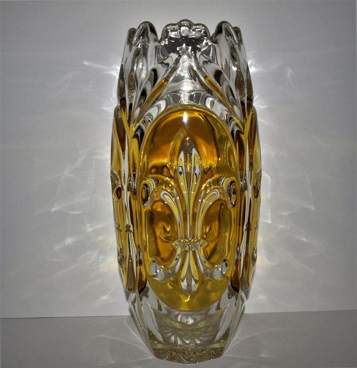 Большая ваза цветное стекло Inwald довоенная 1930 гг