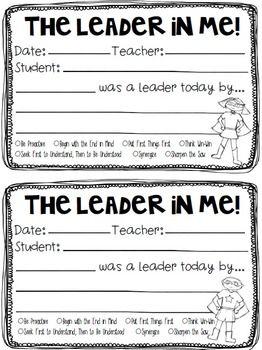 "Leader In Me - ""I Was A Leader By..."" Student Leader Recog"