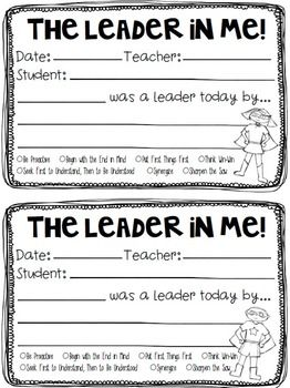 "Leader In Me - ""I Was A Leader By..."" Student Leader Recog"