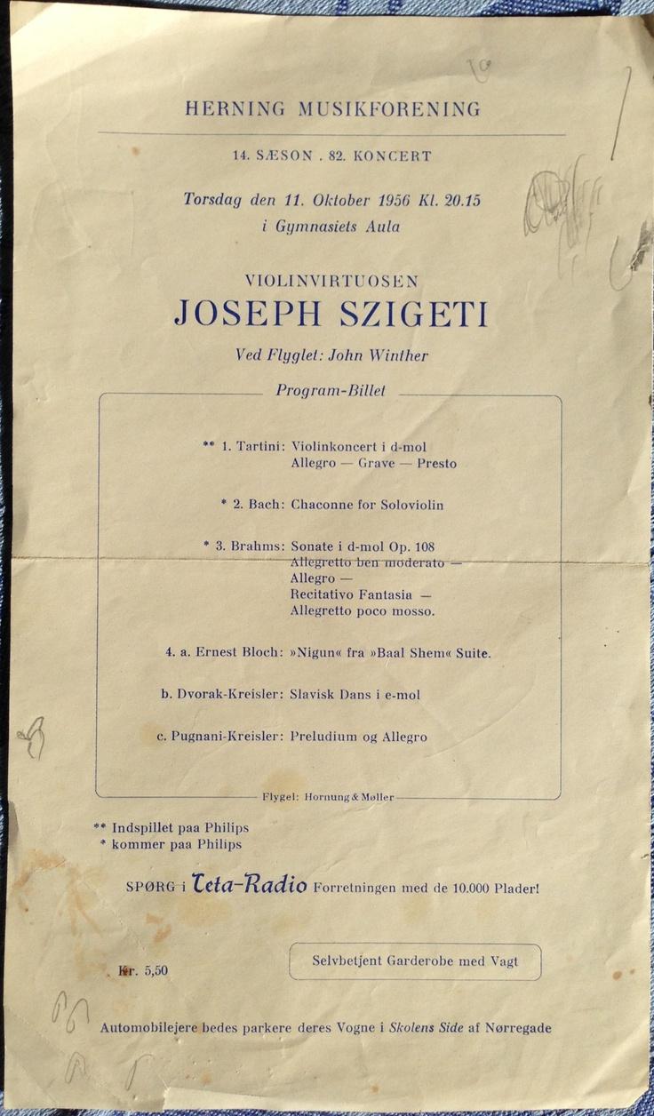 Koncertprogram fra 1956
